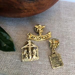 Set of Cute Pins - Grandma, Bingo, Nativity